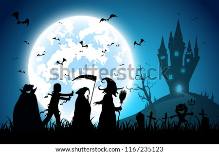 illustration blue background,festival halloween,full moon on dark night with many ghost and devil walking to castle for celebration halloween day