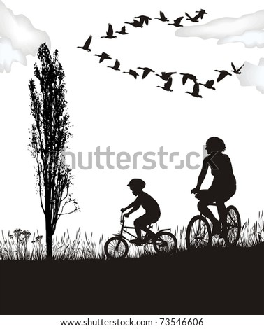illustration boy and woman on bicycles in autumn nature - stock vector