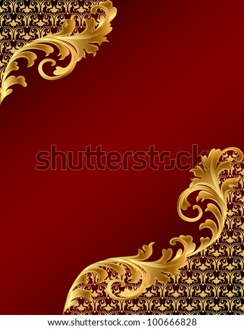 illustration brown background with gold(en) ornament