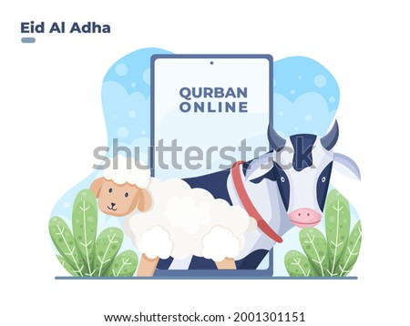 illustration Buy sacrificial animal or qurban animal with online to celebrating eid al adha. Eid al adha donate sacrifice animal with online smartphone. Can be used for website, banner, poster, flyer.