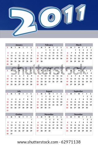 illustration 2011 calendar. modern calendar