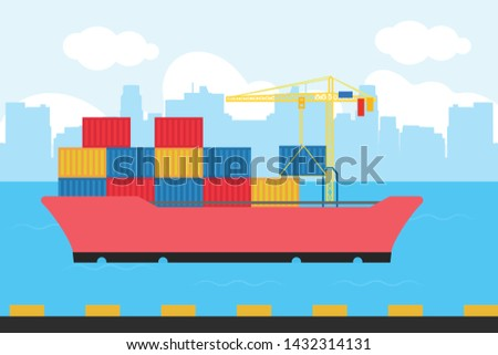 illustration Cargo ship container in the ocean transportation, shipping freight transportation. - vector