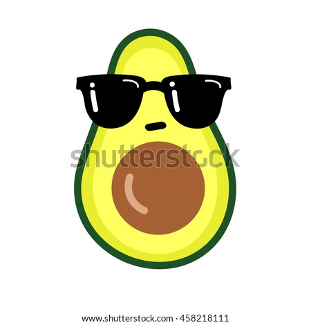 Illustration cartoon funny avocado icon with black sunglasses isolated on white background / vector eps 10