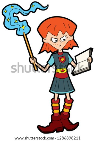 illustration cartoon girl with