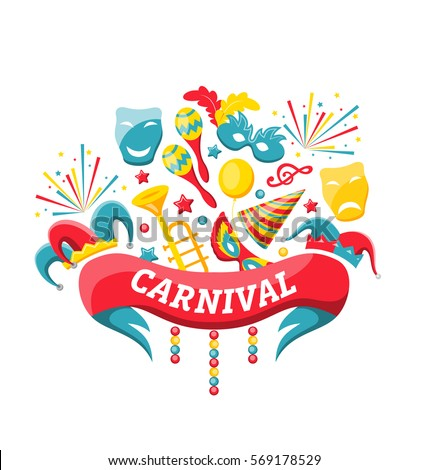 Illustration Celebration Festive Banner for Happy Carnival with Party Colorful Icons and Objects - Vector