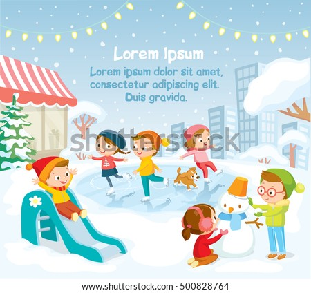 Illustration, children playing outside, winter background