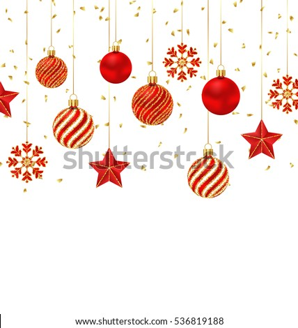 Illustration Christmas Background with Ornamental Balls, Stars and Snowflakes - Vector