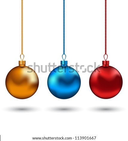 Illustration Christmas colorful balls isolated on white background - vector
