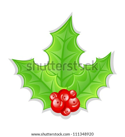 Illustration Christmas decoration holly berry branches isolated on white background - vector