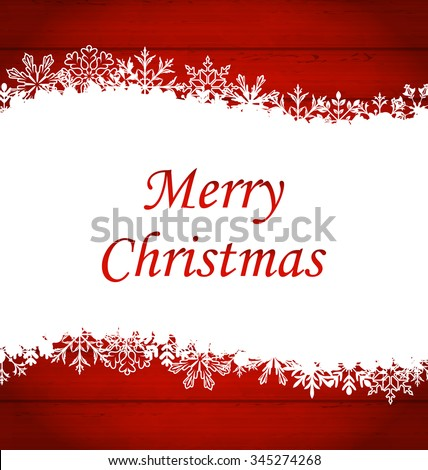 Illustration Christmas Framework Made of Snowflakes, Red Wooden Background - vector