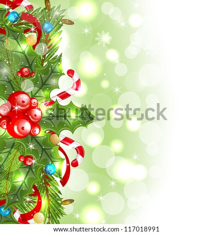Illustration Christmas glowing background with holiday decoration - vector #117018991