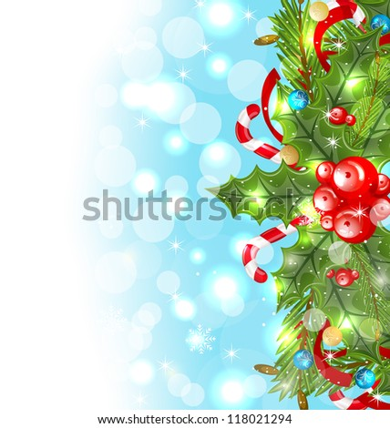 Illustration Christmas glowing background with holiday decoration - vector #118021294