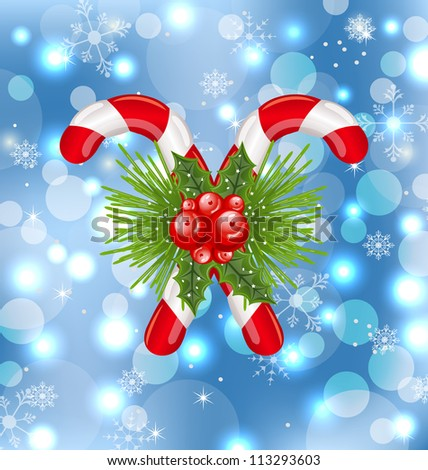 Illustration Christmas sweet canes with holly berry - vector - stock vector