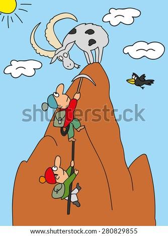illustration climbers cartoon