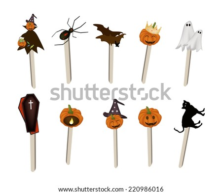illustration collection of halloween evils and halloween items on wooden sticks for halloween celebration - Halloween Items