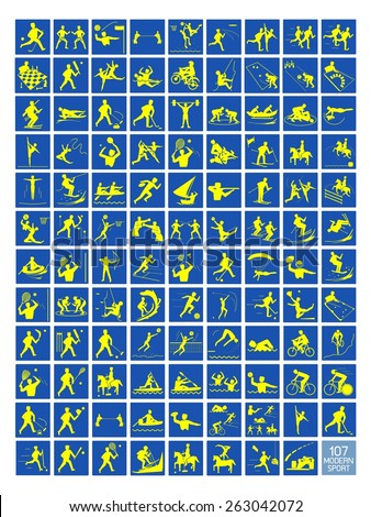 Illustration Collection of 107 Winter and Summer Sport Icons in Yellow and Blue Colors.