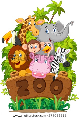 Illustration collection of zoo animals on white background