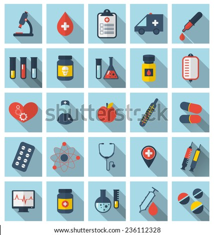 Illustration collection trendy flat medical icons with long shadows - vector