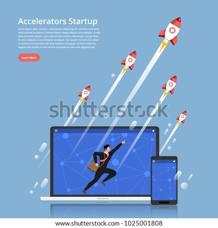 Illustration concept accelerators startup business technology with entrepreneur run up on labtop & Mobile  and rocket rise to top. Flat design vector.