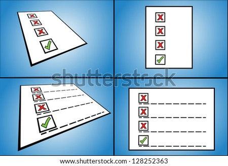 Illustration concept for Right and Wrong - four different (normal and perspective) views of 3 wrong tick box options with one right tick box option