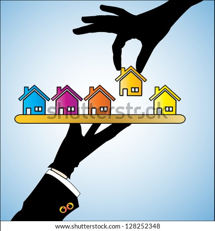 Illustration concept of Buying Home or Buying House - Customer Selecting a bright colored House of his/her choice from a set of different houses offered to him  by the real estate agent