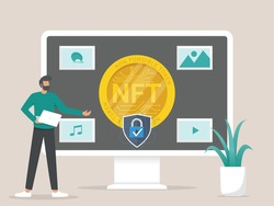 Illustration concept of converting artwork into digital NTF tokens