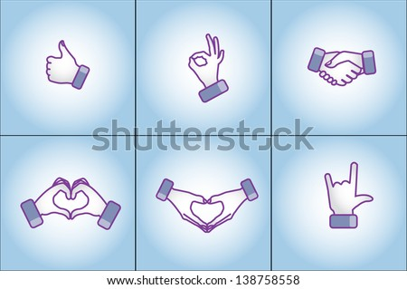 Illustration concept of Different social media style hand gestures - love, like, best, handshake, I love You