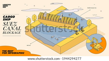Illustration concept of Maritime traffic jam. Container cargo ship run aground and stuck in Suez Canal, Suez Canal blockage. Ever Given grounding isometric illustration.
