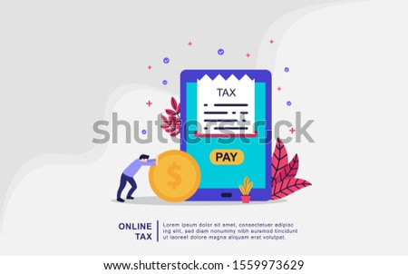 Illustration concept of online tax. Filling tax form. Business concept. People vector illustration. people filling tax form, people submit digital ta, online bill payment, calculating taxes bill