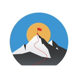 Illustration concept with flag on the mountain peak, meaning overcoming difficulties, winning strategy with focus on results.