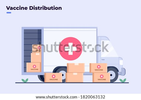 Illustration coronavirus Covid-19 vaccine distribution to people with truck transportation. Covid-19 medicine vaccine delivery. Shipping the coronavirus vaccine. Virus Vaccine finally complete.