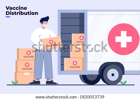 Illustration coronavirus or Covid-19 vaccine distribution or delivery with truck transportation. Covid-19 vaccine send. Ending of coronavirus pandemic. Government sending vaccine Covid-19 to people.