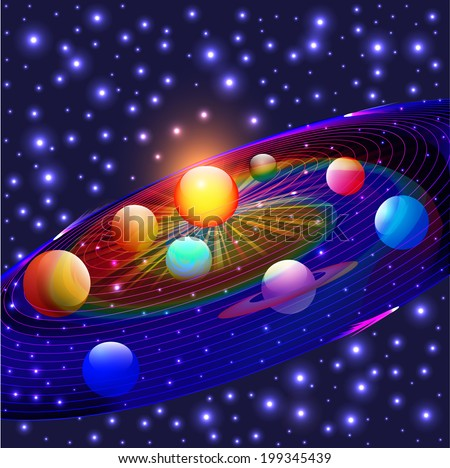 illustration cosmos planets in the solar system