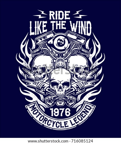 Illustration custom motorcycle emblems, t-shirt design, labels, badges, logos, prints, templates. Layered, isolated on dark blue background Easy rider