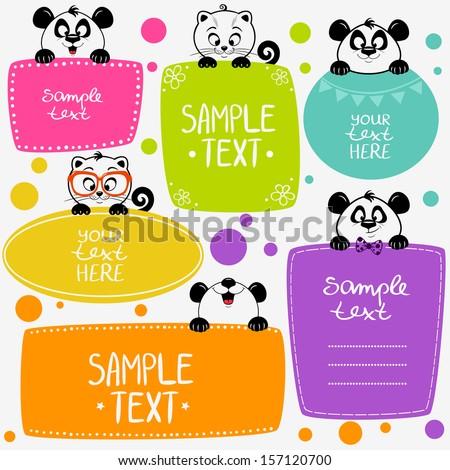 illustration cute animals set