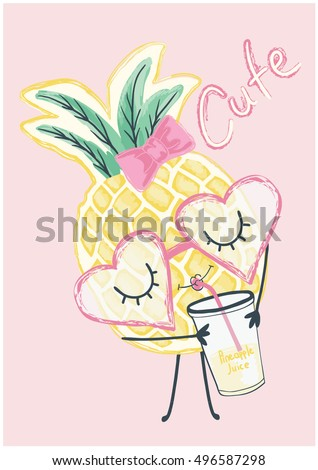 illustration cute pineapple