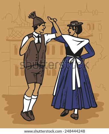 illustration czech dance men