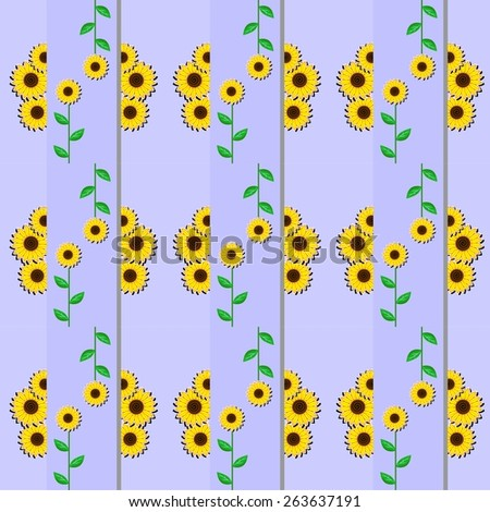 illustration dedicated to the beautiful flowers - sunflowers.