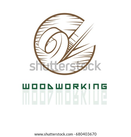 Illustration depicting a chisel, cutting a tree in the form of a logo