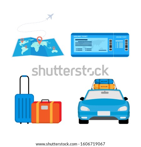 illustration design preparation and ticket traveling with equipment and vehicles and travel destinations