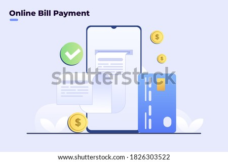 Illustration Digital bill on smartphone, online bill payment. Online invoice payment, electronic invoice, Flat illustration vector. E Commerce invoice online. Landing page, website, promotion, apps.