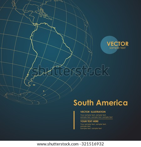 Illustration Earth map of South America. Modern business line vector background Foto stock ©