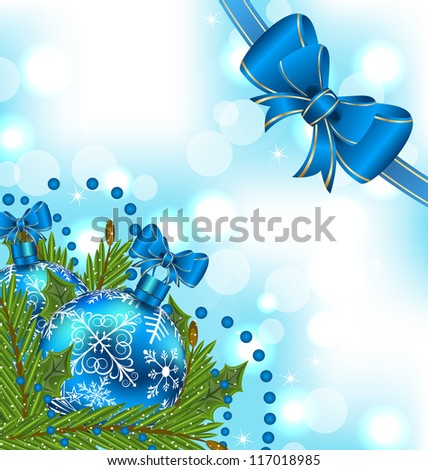 Illustration elegant packing with Christmas balls - vector