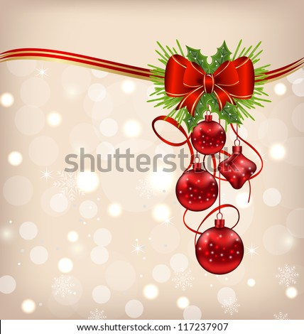 Illustration elegant packing with Christmas balls - vector - stock vector