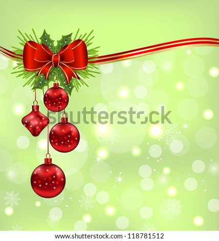 Illustration elegant packing with Christmas balls - vector
