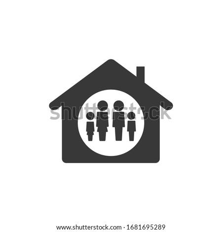 Illustration Family Home Lockdown Icon Black and White Vector