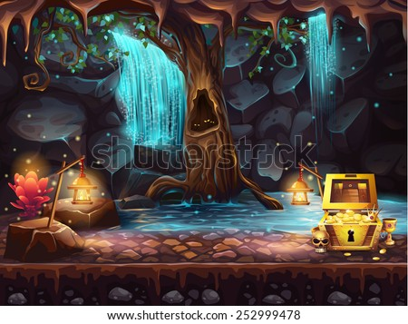 illustration fantasy cave with