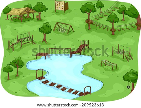 Illustration Featuring a Camp with an Obstacle Course ストックフォト ©
