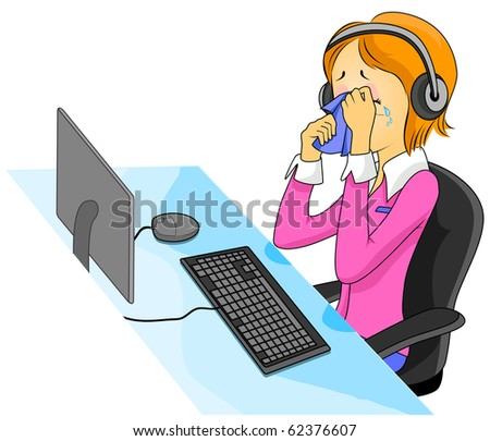 Illustration Featuring a Crying Call Center Agent - Vector