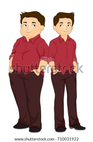 Illustration Featuring a Fit Man Standing Side by Side With His Former Overweight Self